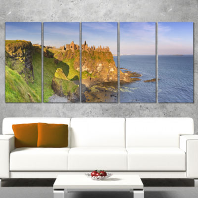 Dunluce Castle In Northern Ireland Large SeascapeArt Canvas Print - 4 Panels