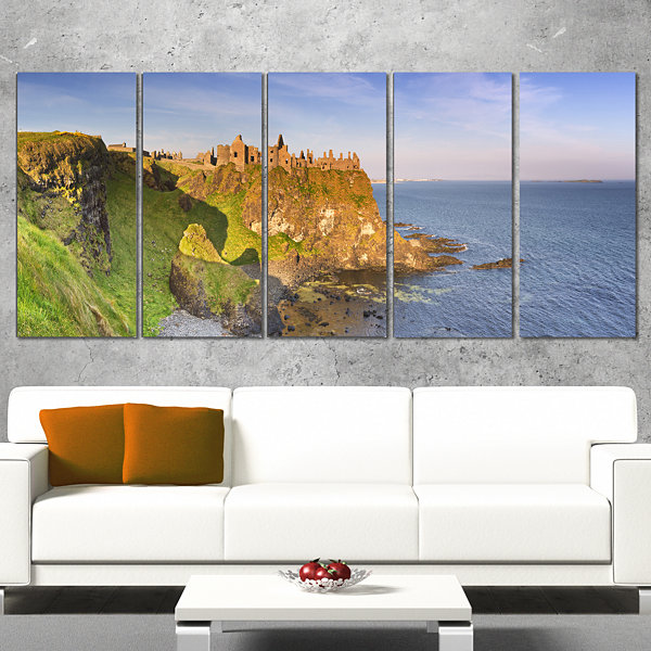 Designart Dunluce Castle In Northern Ireland LargeSeascapeArt Wrapped Canvas Print - 5 Panels
