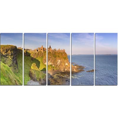 Designart Dunluce Castle In Northern Ireland LargeSeascapeArt Canvas Print - 5 Panels