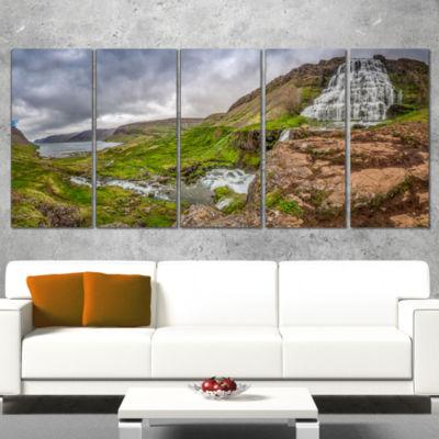 Designart Dyjandi Waterfall Iceland Panorama Landscape PrintWall Artwork - 5 Panels