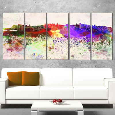 Designart Edinburgh Skyline Cityscape Canvas Artwork Print -5 Panels