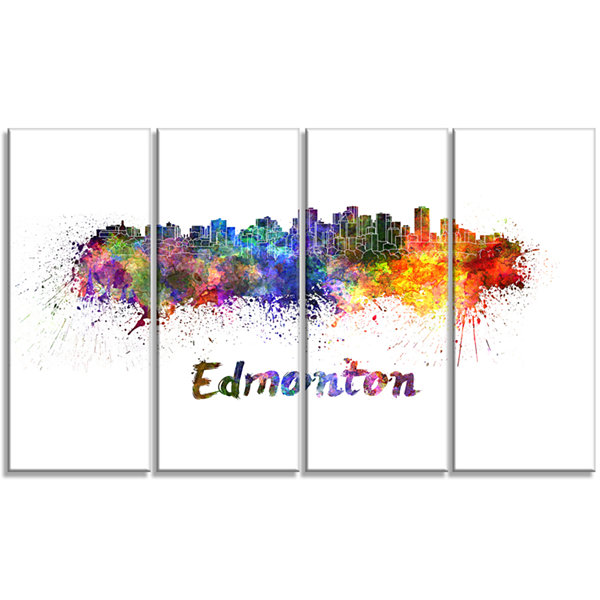 Edmonton Skyline Cityscape Canvas Artwork Print -4 Panels