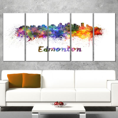 Designart Edmonton Skyline Cityscape Canvas Artwork Print -5 Panels