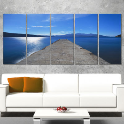 Designart Elba Island Pier And Capanne Mountain Oversized Landscape Wrapped Wall Art Print - 5 Panels