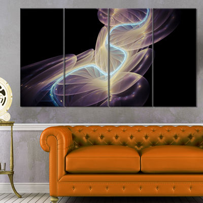 Designart Elegant Fantasy Fractal Design AbstractCanvas Wall Art Print - 4 Panels