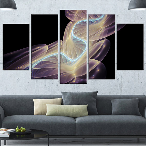 Designart Elegant Fantasy Fractal Design Contemporary CanvasWall Art Print - 5 Panels