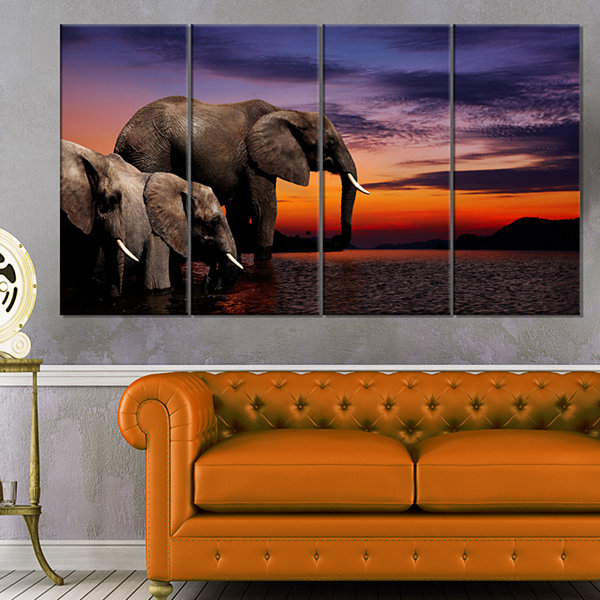 Designart Elephant At Watering In Africa African Canvas ArtPrint - 4 Panels