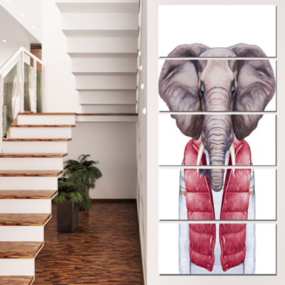 Designart Elephant In Vest And Sweater Contemporary Animal Art Canvas - 4 Panels