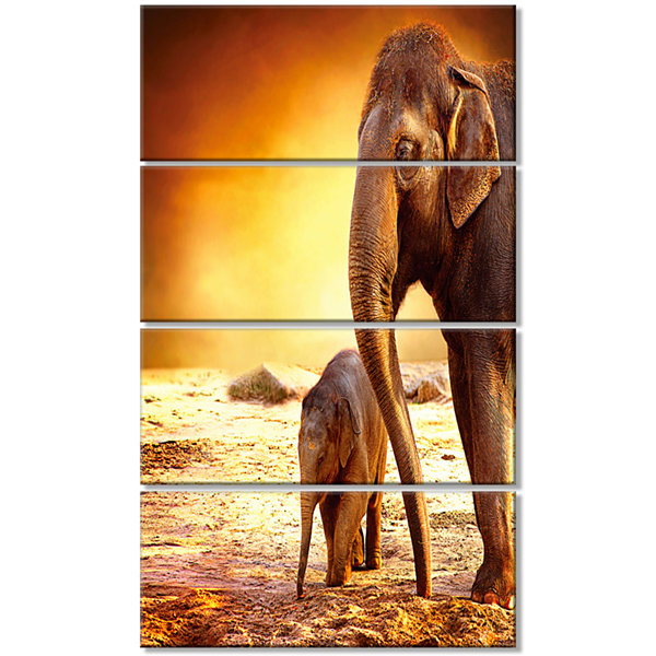 Designart Elephant Mother And Baby Outdoors African Canvas Art Print - 4 Panels