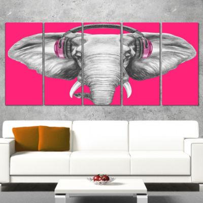Designart Elephant With Headphones Contemporary Animal Art Canvas - 4 Panels