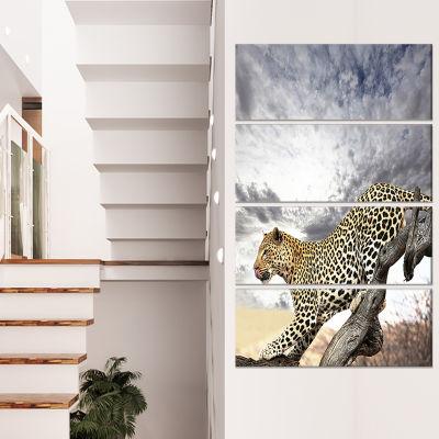 Designart Elephants Walking Along River Bank Animal Canvas Art Print - 4 Panels