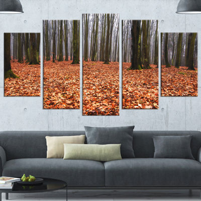 Designart Enchanted And Magical Fall Forest ModernForest Canvas Art - 4 Panels