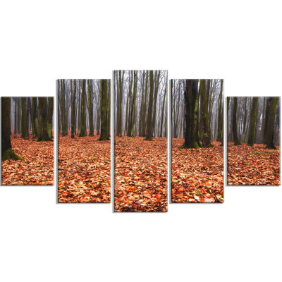 Enchanted And Magical Fall Forest Modern Forest Wrapped Canvas Art - 5 Panels