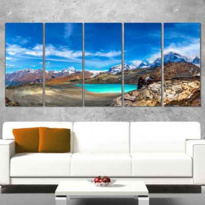 Designart Enchanting Swiss Alps Mountains Landscape WrappedCanvas Art Print - 5 Panels