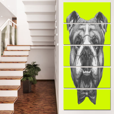 English Bulldog With Bow Tie Contemporary Animal Art Canvas - 5 Panels