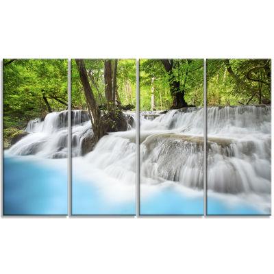 Designart Erawan Waterfall Green Photography Canvas Art Print - 4 Panels