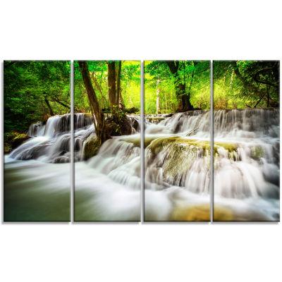 Designart Erawan Waterfall Landscape Photo CanvasArt Print- 4 Panels