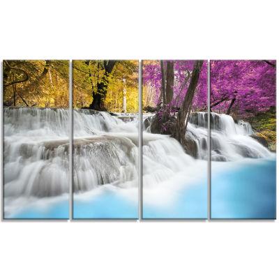 Designart Erawan Waterfall Landscape Photography Canvas ArtPrint - 4 Panels