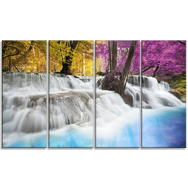 Designart Erawan Waterfall Large Landscape Photography Canvas Art Print - 4 Panels