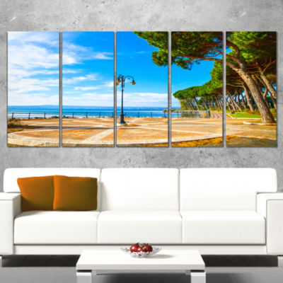 Designart Esplanade And Pine Trees In Bolsena Oversized Landscape Wall Art Print - 5 Panels