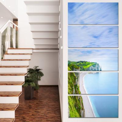 Designart Etretat Aval Cliff And Rocks Normandy Beach PhotoCanvas Print - 5 Panels