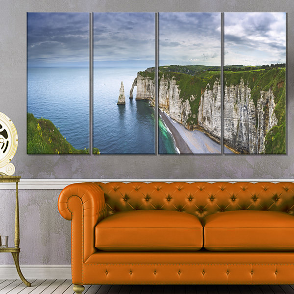 Designart Etretat Aval Cliff And Rocks Oversized Beach Canvas Artwork - 4 Panels