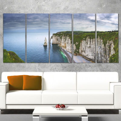 Designart Etretat Aval Cliff And Rocks Oversized Beach Wrapped Canvas Artwork - 5 Panels