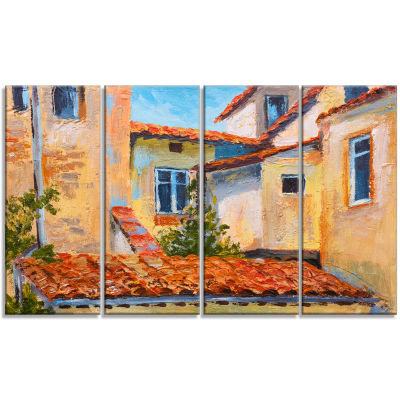 European Rooftops Cityscape Canvas Art Print - 4 Panels