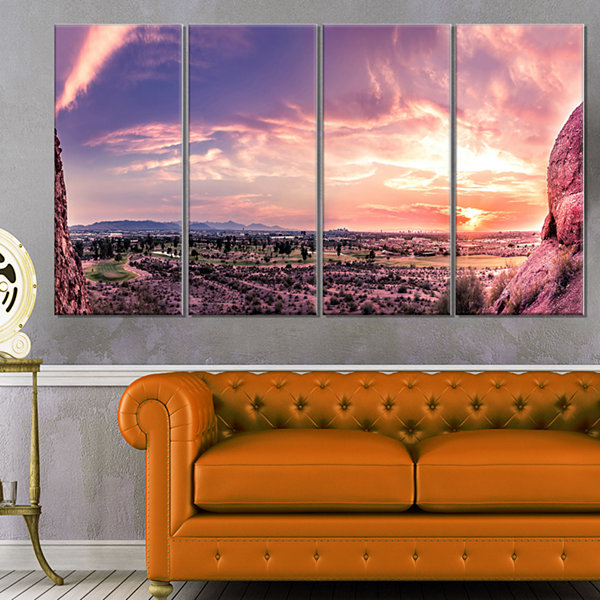 Designart Evening Red Sky Over Phoenix Arizona Landscape Artwork Canvas - 4 Panels