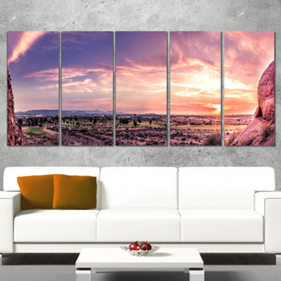 Designart Evening Red Sky Over Phoenix Arizona Landscape Artwork Wrapped Canvas - 5 Panels