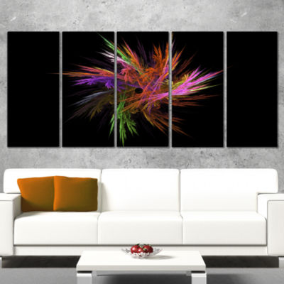 Designart Excitingly Colorful Fractal Flower Floral Canvas Art Print - 4 Panels