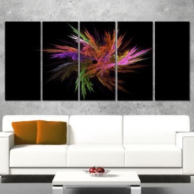 Designart Excitingly Colorful Fractal Flower Floral WrappedCanvas Art Print - 5 Panels