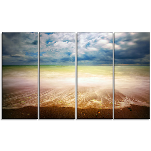 Designart Exotic Beach On Cloudy Summer Day Seashore CanvasArt Print - 4 Panels