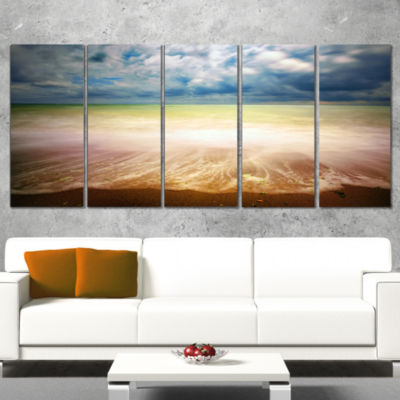 Exotic Beach On Cloudy Summer Day Seashore WrappedCanvas Art Print - 5 Panels