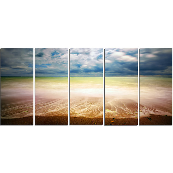 Exotic Beach On Cloudy Summer Day Seashore CanvasArt Print - 5 Panels