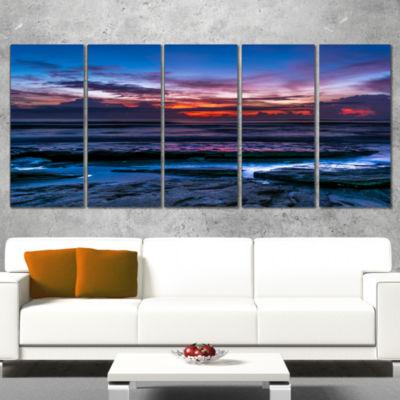 Designart Exotic Dark Blue Coquina Dawn Beach Photo Canvas Print - 5 Panels