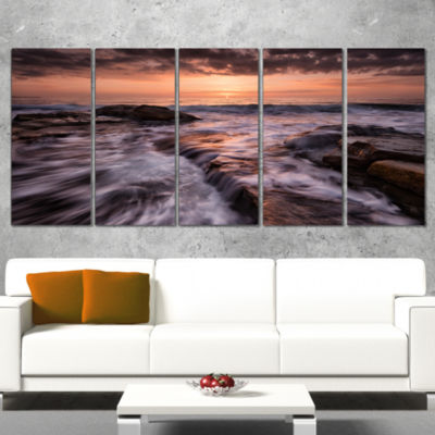 Designart Exotic Flow Of Waters Over Rocks Seashore WrappedCanvas Art Print - 5 Panels