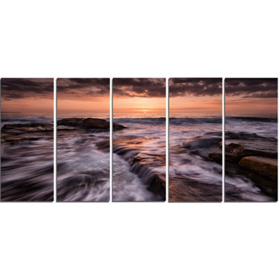 Designart Exotic Flow Of Waters Over Rocks Seashore Canvas Art Print - 5 Panels