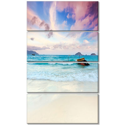 Designart Exotic Seashore Sunset Over Blue Sea Extra Large Seascape Art Canvas - 4 Panels
