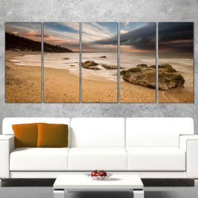 Designart Exotic Seashore With White Waves Beach Photo Canvas Print - 4 Panels