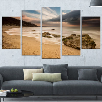 Designart Exotic Seashore With White Waves Beach Photo Wrapped Canvas Print - 5 Panels