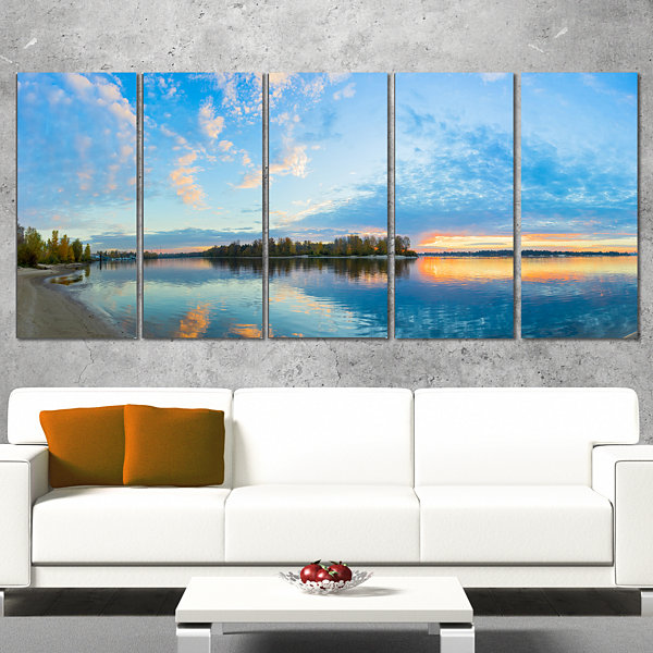 Designart Exotic Sunrise On River Autumn OversizedBeach Canvas Artwork - 4 Panels
