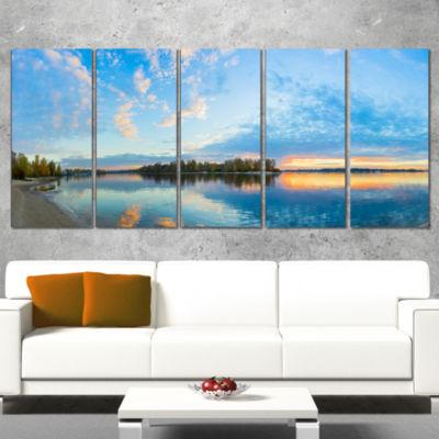 Designart Exotic Sunrise On River Autumn OversizedBeach Wrapped Canvas Artwork - 5 Panels