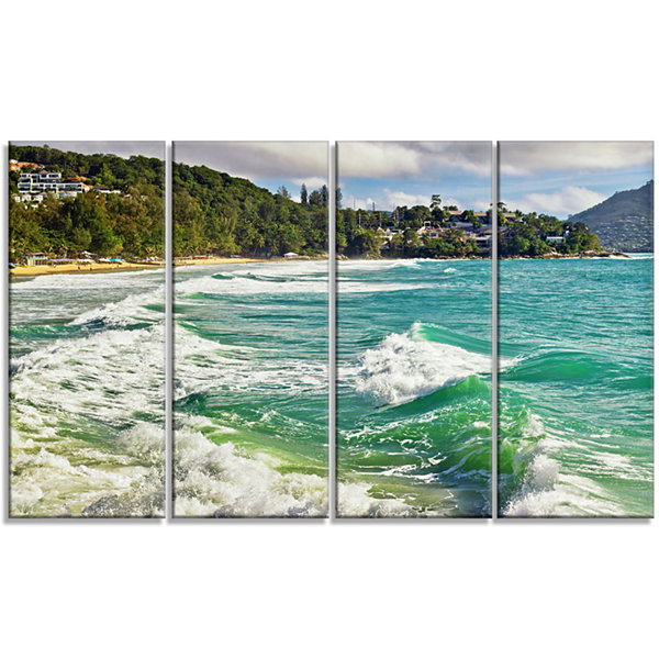 Designart Exotic Tropical Beach Blue Waters Oversized BeachCanvas Artwork - 4 Panels