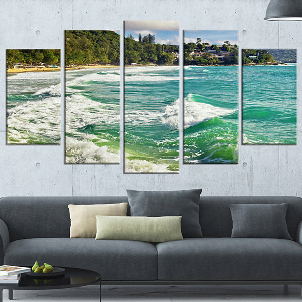Designart Exotic Tropical Beach Blue Waters Oversized BeachWrapped Canvas Artwork - 5 Panels