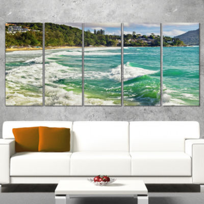 Designart Exotic Tropical Beach Blue Waters Oversized BeachCanvas Artwork - 5 Panels