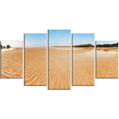 Designart Exotic Tropical Beach Panorama Modern Seascape Wrapped Canvas Artwork - 5 Panels