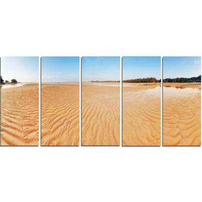 Exotic Tropical Beach Panorama Modern Seascape Canvas Artwork - 5 Panels