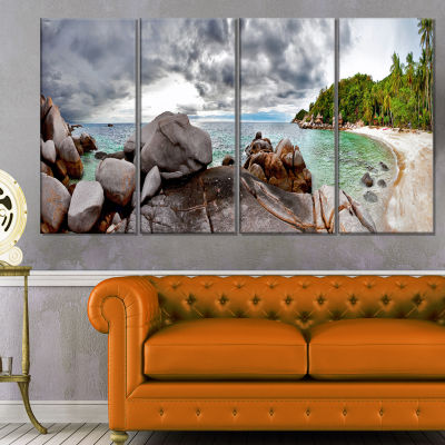 Exotic Tropical Beach Under Blue Sky Modern Seascape Canvas Artwork - 4 Panels