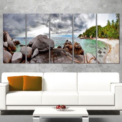 Designart Exotic Tropical Beach Under Blue Sky Modern Seascape Wrapped Canvas Artwork - 5 Panels
